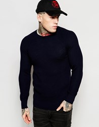 Diesel Crew Knit Jumper K Alby Slim Fit Waffle In Navy Blue
