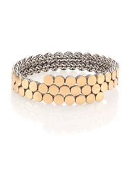 John Hardy Dot 18K Yellow Gold And Sterling Silver Two Row Coil Bracelet Gold Silver