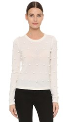 Lisa Perry Pom Pom Cashmere Sweater Cream