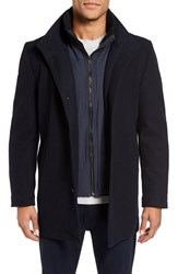 Vince Camuto Men's Classic Wool Blend Car Coat With Inset Bib