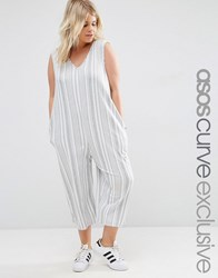 Asos Curve Jersey Jumpsuit With Wide Leg In Variegated Stripe Grey White Multi