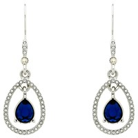 Monet Teardrop Glass Crystal Open Drop Earrings Silver Sapphire