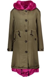 Ainea Faux Fur Trimmed Satin Hooded Coat Army Green
