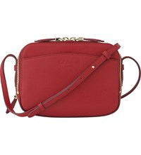 Lk Bennett Mariel Boxy Leather Cross Body Bag Red Roca Red