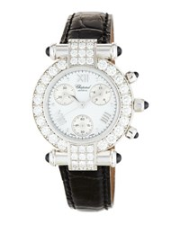 Chopard Imperiale 18K Chronograph Watch W Pave Diamond Bezel 3.24Tcw