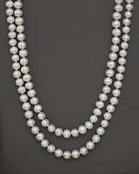 Bloomingdale's White Freshwater Pearl Necklace 52 No Color