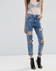 Asos Farleigh High Waist Slim Mom Jeans In Acid Wash With Super Busts Acid Wash Blue