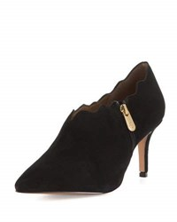 Adrienne Vittadini Scalloped Suede Side Zip Bootie Black