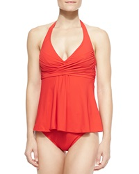 Gottex Lattice Wrapped A Line Tankini Top Women's Fire Red