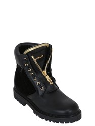 Balmain 20Mm Taiga Leather And Velvet Boots