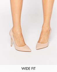Faith Wide Fit Chloe Nude Court Shoes Nude Beige
