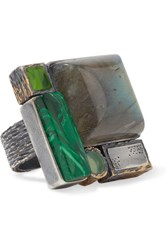 Bottega Veneta Oxidized Silver Multi Stone Ring