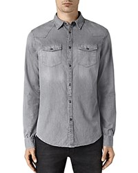 Allsaints Roxon Slim Fit Button Down Shirt Light Gray