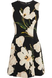 Dolce And Gabbana Floral Print Wool Crepe Mini Dress Black
