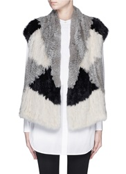Vince Colourblock Rabbit Fur Knit Gilet Grey