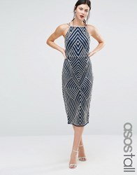 Asos Tall Pencil Dress With Chevron Embellishment Navy