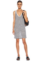 T By Alexander Wang Stripe Tank Rayon Blend Dress In White Blue Stripes