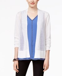 Alfani Mixed Stitch Open Front Cardigan Only At Macy's Bright White
