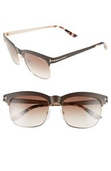Women's Tom Ford 'Elena' 54Mm Retro Polarized Sunglasses Shiny Brown Gradient Brown