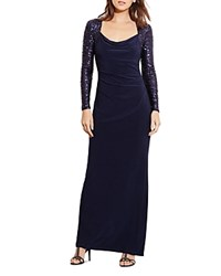 Ralph Lauren Petites Sequin Sleeve Gown Navy Shine