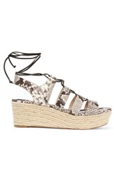 Michael Michael Kors Sofia Snake Effect Leather Espadrille Wedge Sandals Snake Print Beige