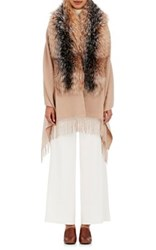 Barneys New York Women's Wool Blend Fur Trimmed Cape Tan