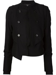 Ann Demeulemeester Stand Up Collar Asymmetric Jacket Black