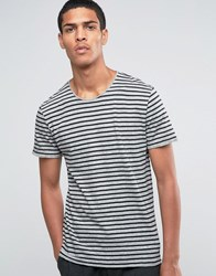 Selected Homme Striped Raw Edge T Shirt Light Grey