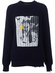 Golden Goose Deluxe Brand Printed Ribbed Jumper Blue