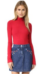 Alice Olivia Garrison Slim Mock Neck Top Ruby