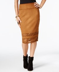 Thalia Sodi Faux Suede Laser Cutout Pencil Skirt Only At Macy's Camel Suede