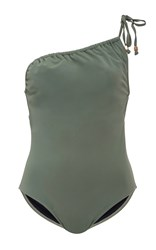 Suboo One Shoulder Ruched Swimsuit Green