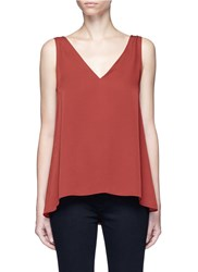Theory 'Narcyz' V Neck Silk Shell Top Red