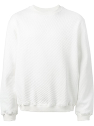 Nasir Mazhar Quilted Back Logo Embroidered Sweatshirt White