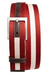 Men's Bally 'Tonni' Stripe Canvas And Leather Belt