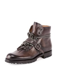 Berluti Brunico Leather Hiker Boot Gray Size 8.5D