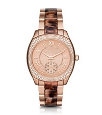 Michael Kors Bryn Pave Rose Gold Tone And Tortoise Acetate Watch