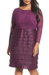 London Times Plus Size Women's Shimmer Tiered Sheath Dress