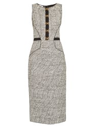 Oscar De La Renta Sleeveless Boucle Tweed Pencil Dress Black Multi