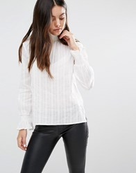 Minimum Moves High Neck Ribbed Blouse 000 White