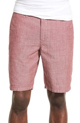 Men's 1901 'Thurston' Chambray Shorts Red Oxblood
