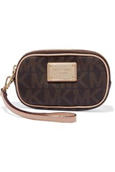 Michael Michael Kors Jet Set Printed Textured Leather Pouch Brown