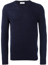 Closed Knitted Crew Neck Sweater Blue