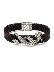 John Hardy Silver Dragon And Leather Bracelet Brown Black