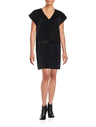 Tomas Maier Corduroy V Neck Shift Dress Black