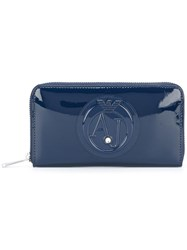 Armani Jeans Embossed Zipped Wallet Blue