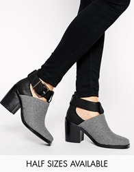 Shellys London Icess Grey Buckle Cut Out Ankle Boots Greyflannel