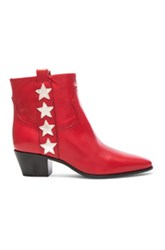 Saint Laurent Rock Leather Boots In Red