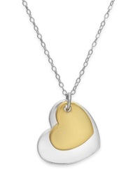 Giani Bernini Layered Heart Pendant Necklace In 24K Gold Over Sterling Silver And Sterling Silver