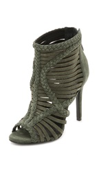 Schutz Yoko Suede Sandals Military Green